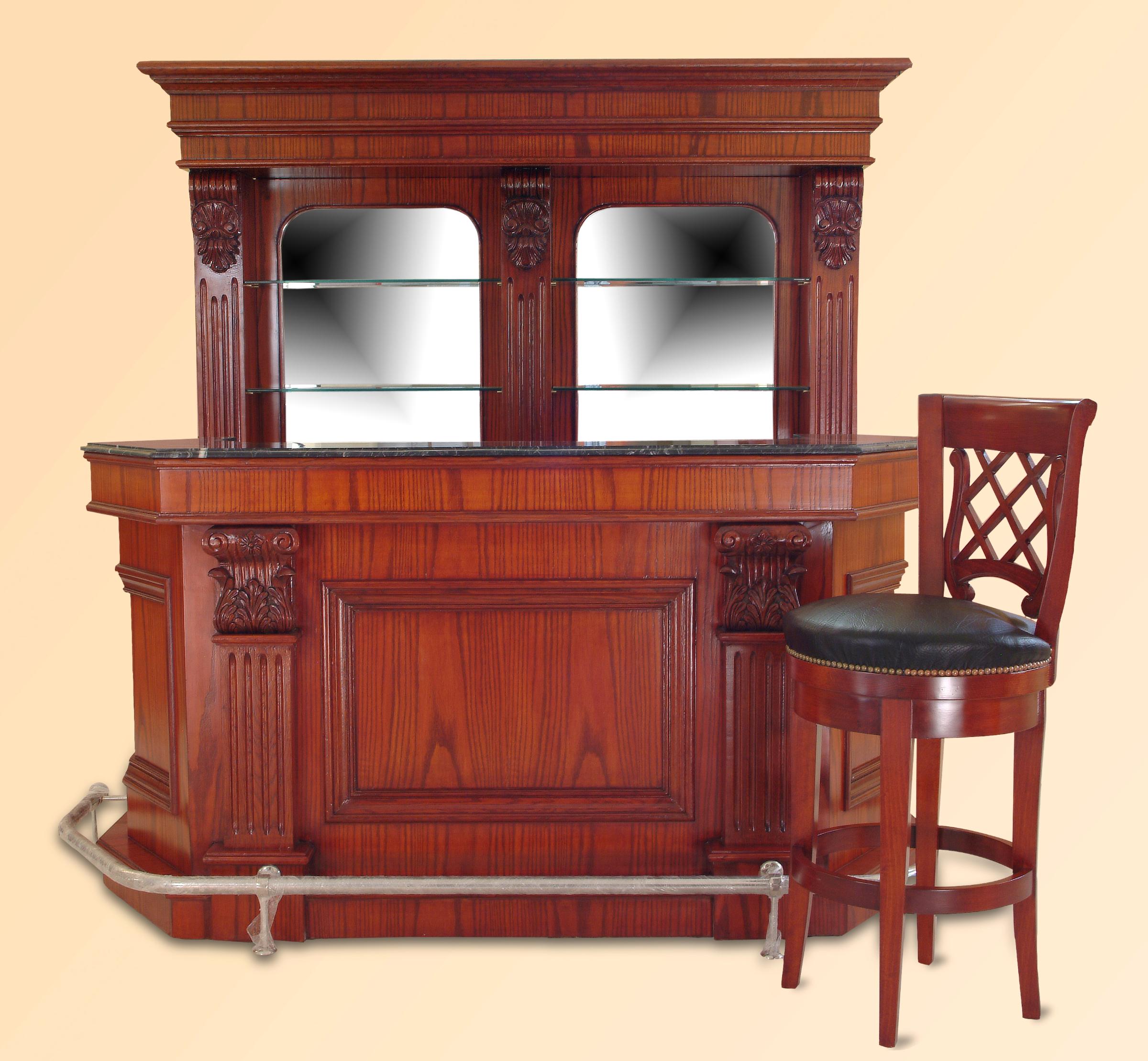 Bar 246ANG – 7 ft Oak Wood Marble Top Home Bar