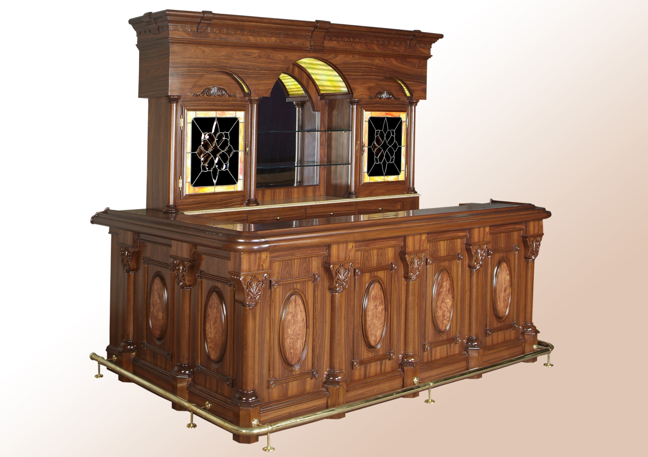 Bar 270BA – 10ft Rosewood Bar with Oval Panels & Marble Top
